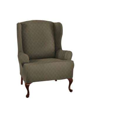 Sage Newport Wing Chair Stretch Slipcover