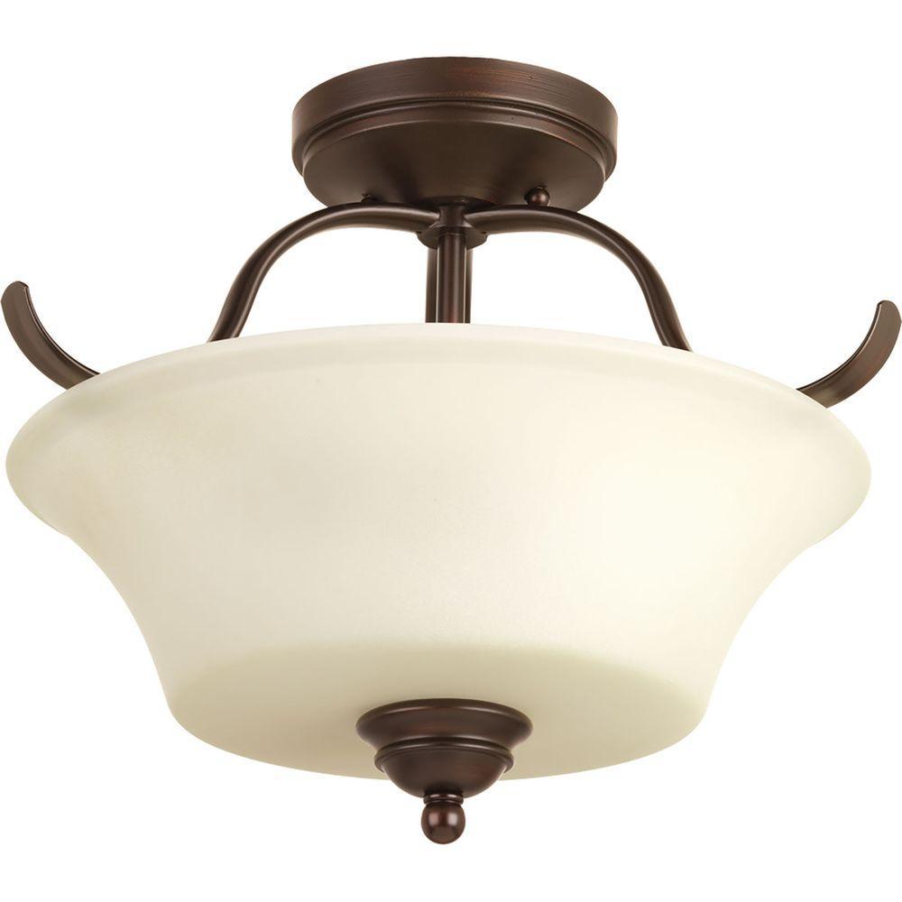 Applause Collection 2-Light Antique Bronze Semi-Flush Mount Light