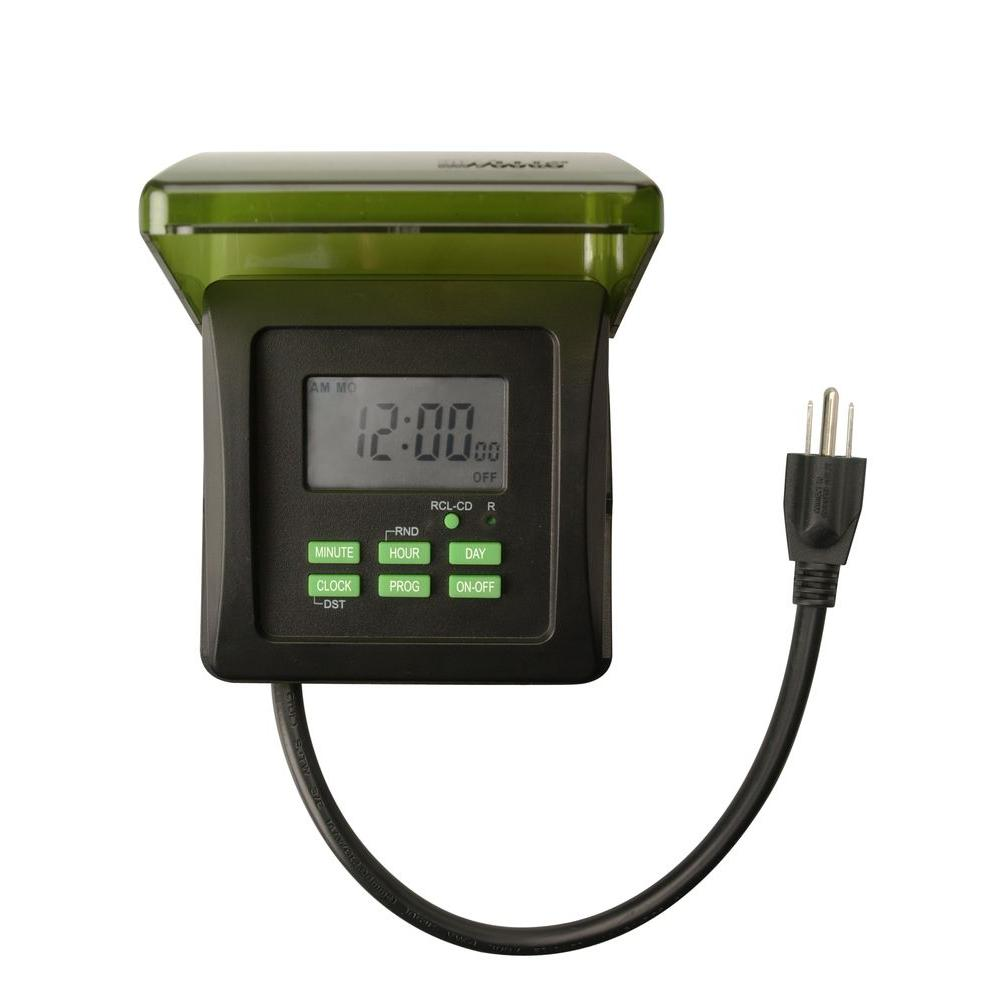 woods 15 amp 7 day digital outdoor heavy duty 2 outlet timer black - Christmas Light Timers