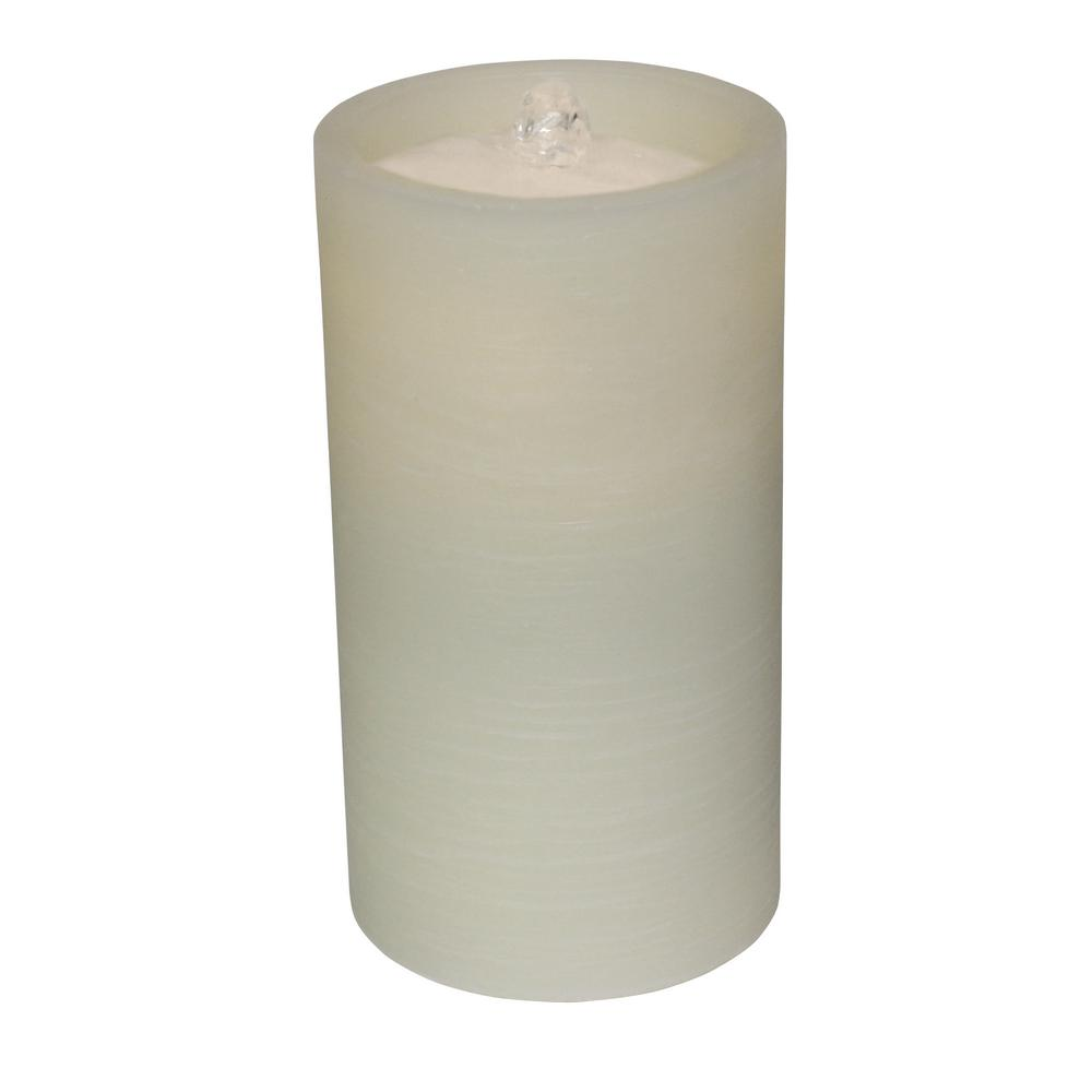 Ivory Battery Operated Pillar Candle with Water Fountain