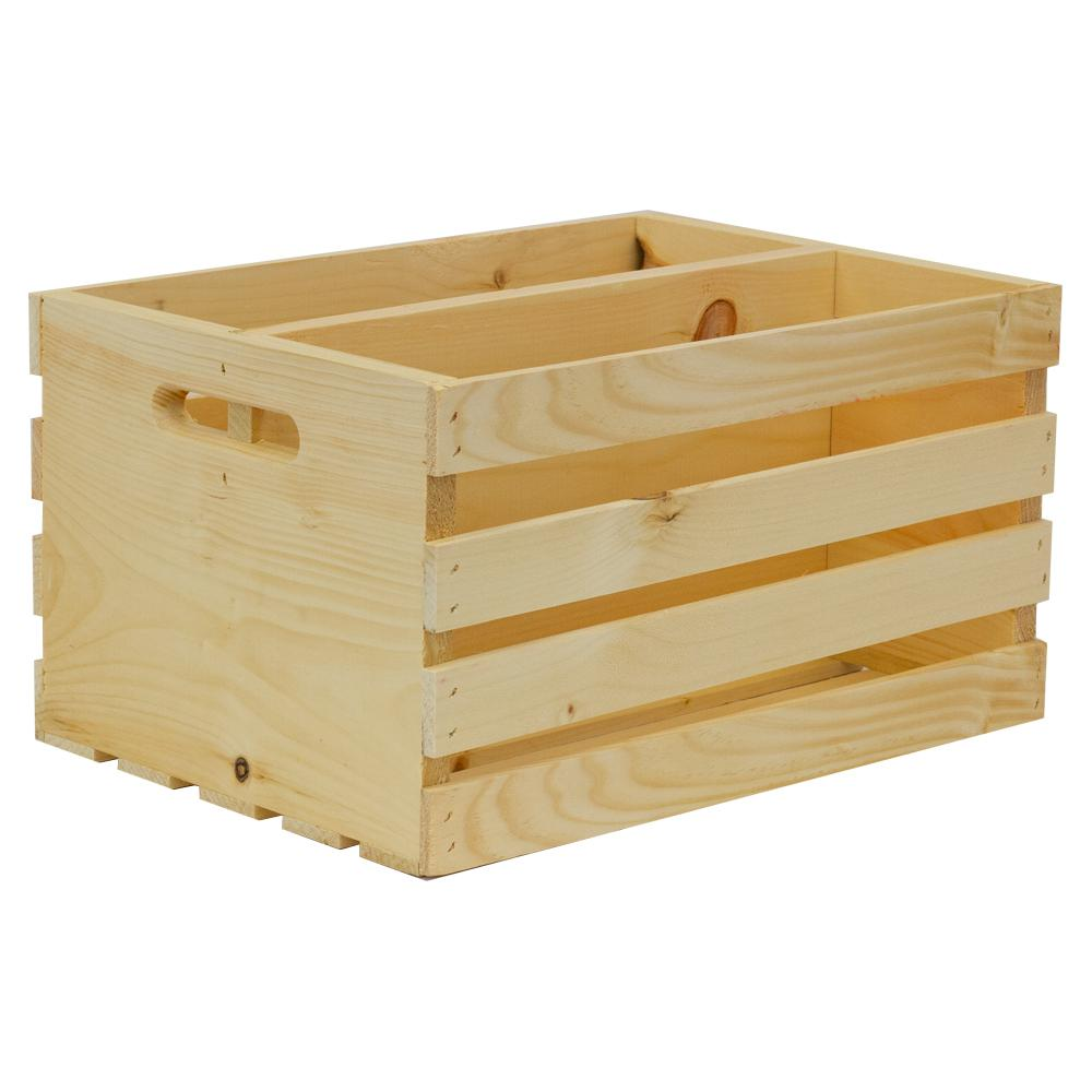 Crates & Pallet Crates and Pallet 18 in. x 12.5 in. x 9.63 in. Divided Large Wood Crate-94623 - The Home Depot