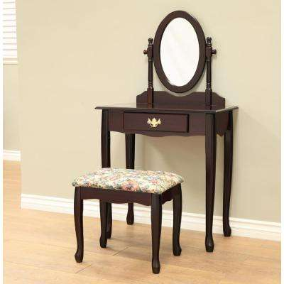 Queen Annie 3 -Piece Espresso Bedroom Vanity set