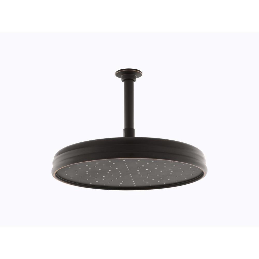 1-spray Single Function 12 in. Traditional Round Rain Showerhead in Oil-Rubbed