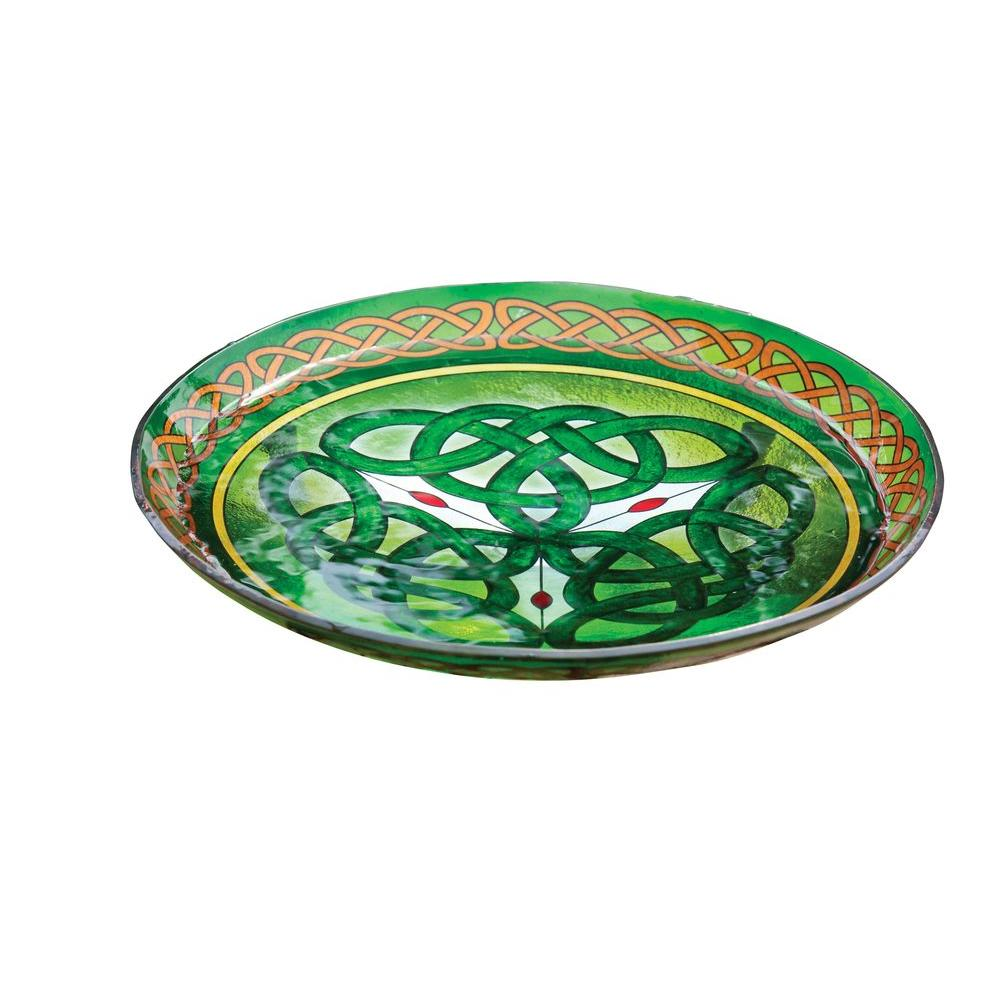 Evergreen Enterprises Celtic Inspired Stained Glass Birdbath-DISCONTINUED