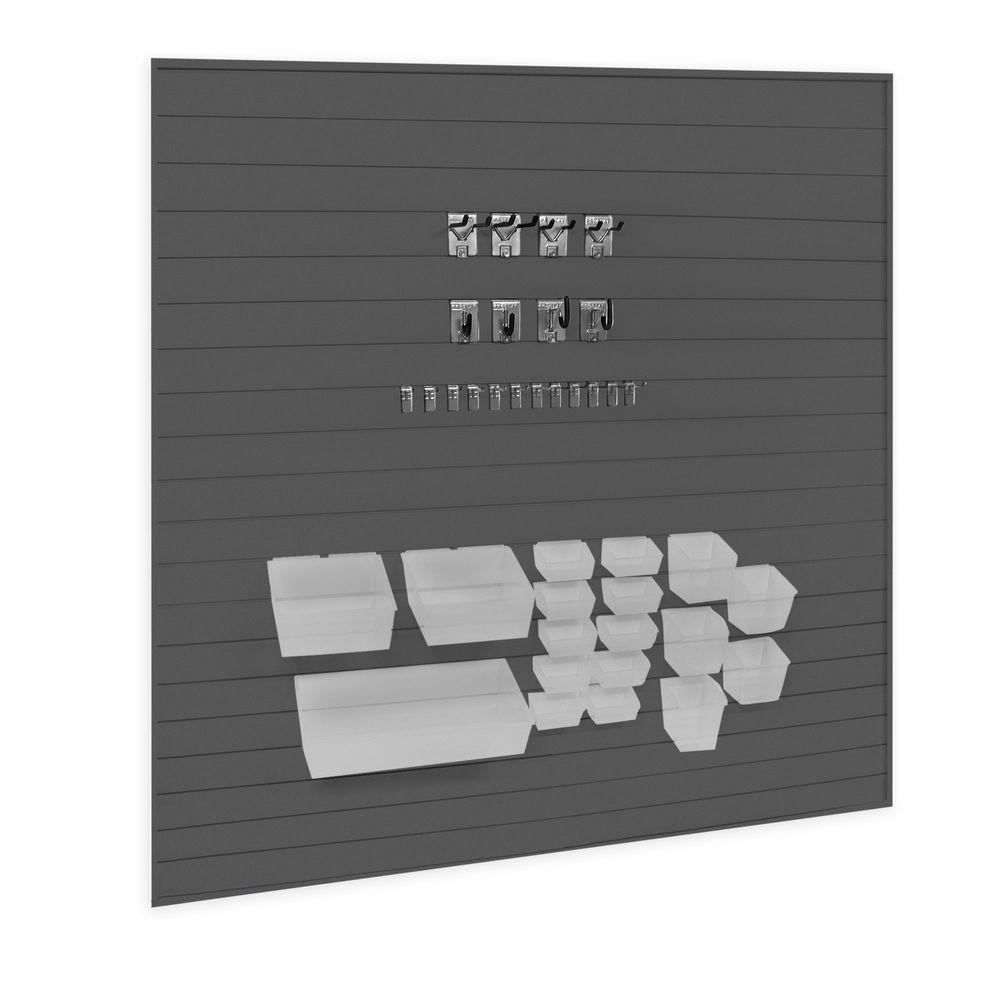 Proslat Hook and Probin Pro Bundle Kit with Wall Panels in Charcoal (58-Pieces)