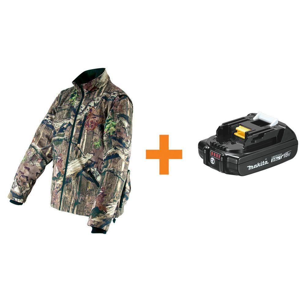Men's Medium Camouflage Mossy Oak Camo 18-Volt LXT Lithium-Ion Cordless Heated Jacket w/BONUS 2.0Ah Battery