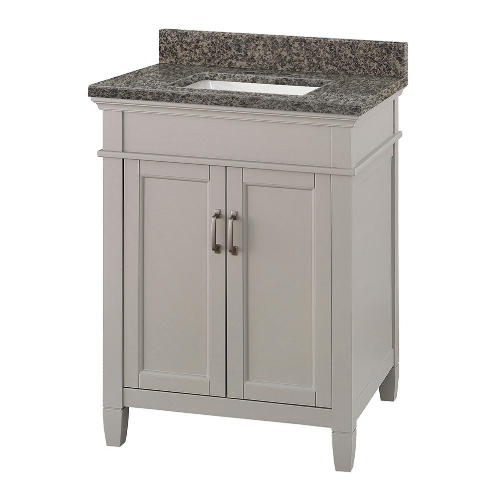 Home Decorators Collection Ashburn 25 in. W x 22 in. D Vanity Cabinet in Grey with Granite Vanity Top in Sircolo with White Sink