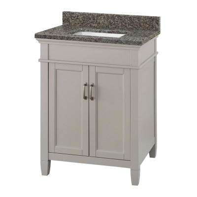 Ashburn 25 in. W x 22 in. D Vanity Cabinet in Grey with Granite Vanity Top in Sircolo with White Sink