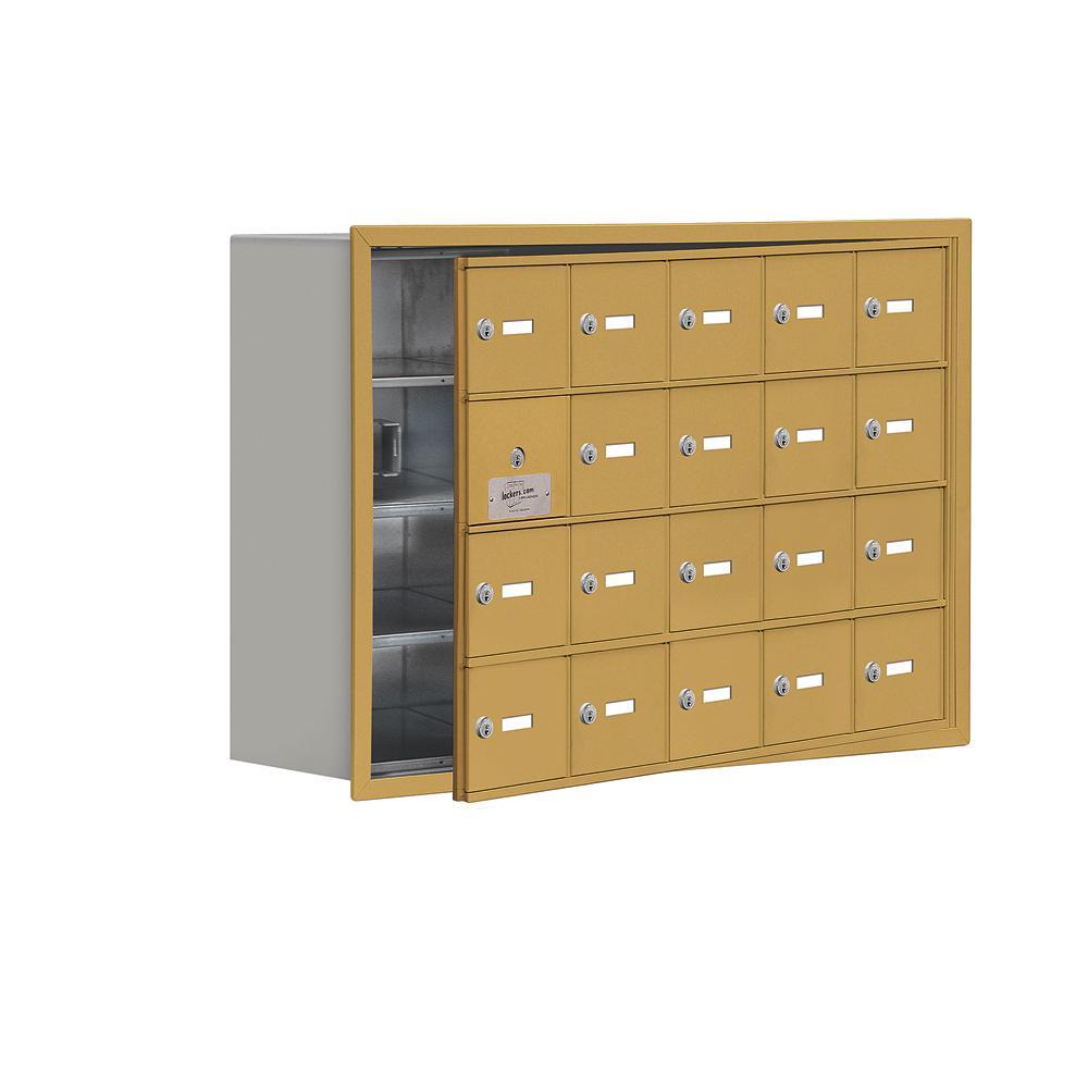 19100 Series 35.75 in. W x 24.25 in. H x 8.75 in. D 19 Doors Cell Phone Locker Recess Mount Keyed Lock in Gold