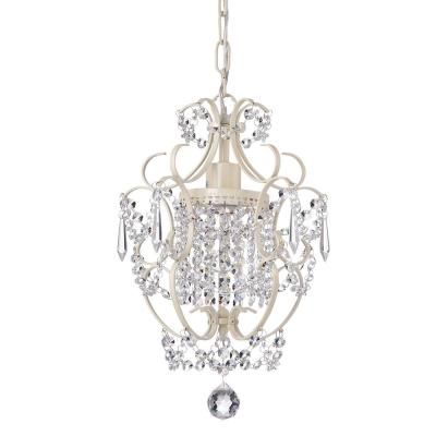 Amorette 1-Light Antique White Finish Mini Chandelier with Crystals