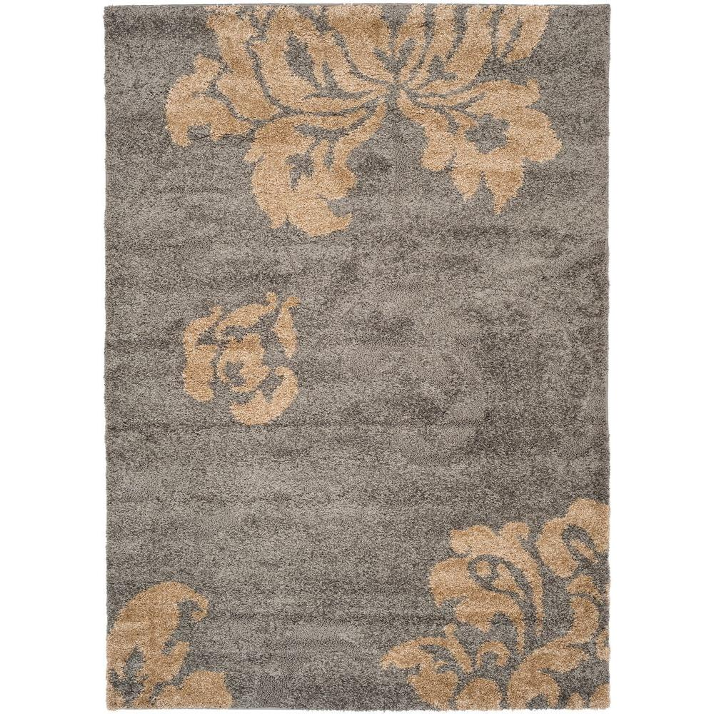 Safavieh florida shag gray beige 5 ft 3 in x 7 ft 6 in for Grey and tan rug