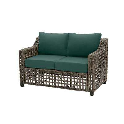 Briar Ridge Brown Wicker Outdoor Patio Loveseat with CushionGuard Charleston Blue-Green Cushions