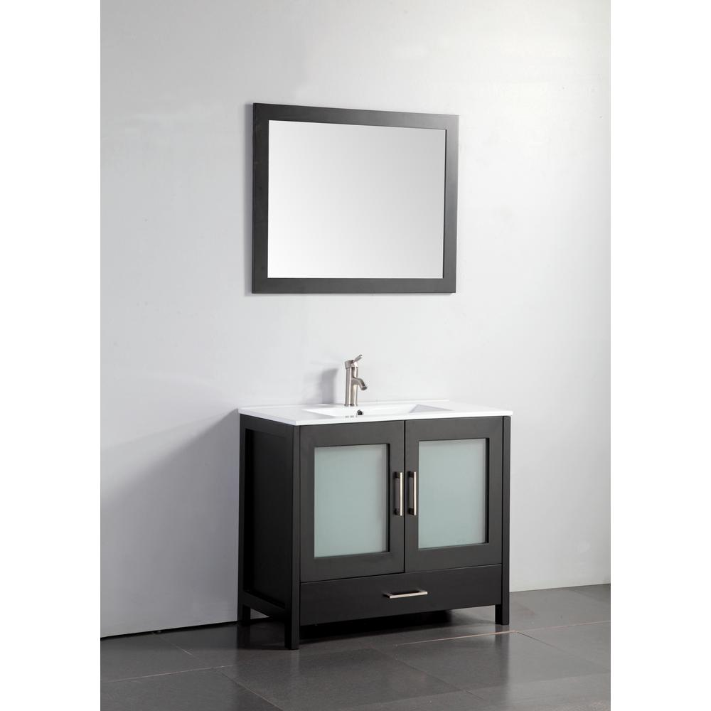 MTD Vanities Argentina 48 in. W x 18 in. D x 36 in. H Vanity in Espresso w/ Porcelain Vanity Top in White with White Basin and Mirror