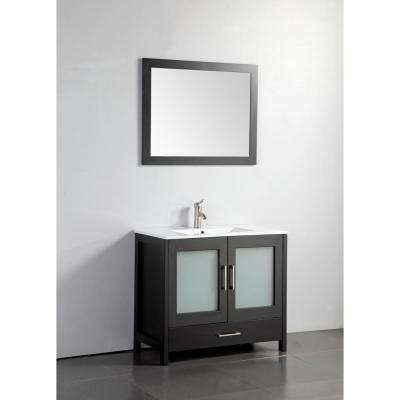 Argentina 48 in. W x 18 in. D x 36 in. H Vanity in Espresso w/ Porcelain Vanity Top in White with White Basin and Mirror
