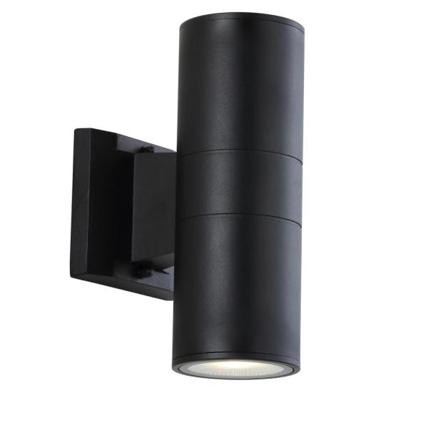 Duo Medium 9.75 in. Black Cylinder Integrated LED Outdoor Metal/Glass Sconce with Uplight