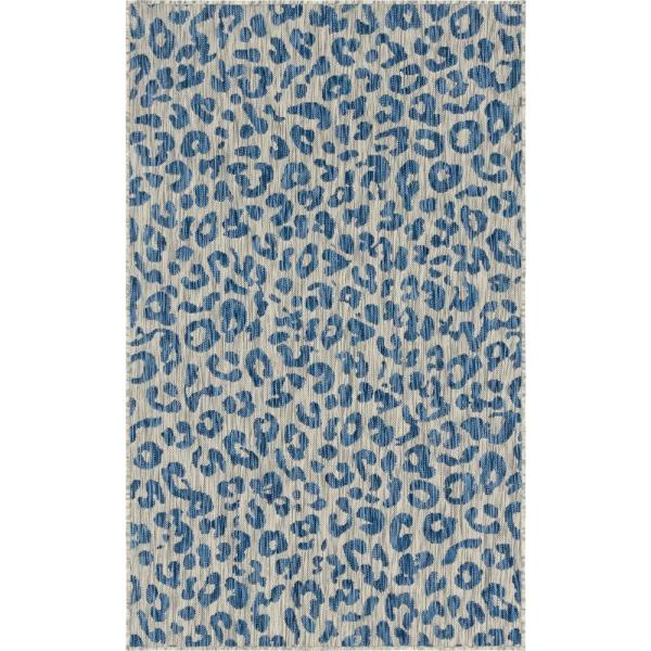 Azure Leopard Outdoor 7 ft. x 10 ft. Area Rug