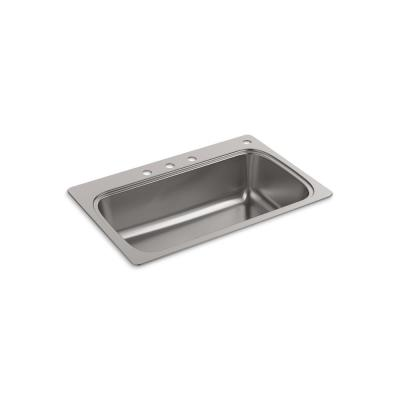 Verse Drop-in Stainless Steel 33 in. 4-Hole Single Bowl Kitchen Sink