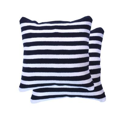 18 in. Black and White Stripe Square Outdoor Throw Pillow (2-Pack)