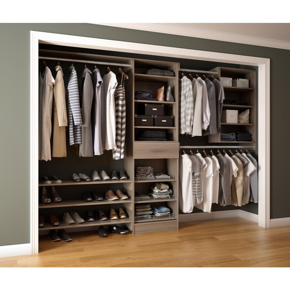 Assembled Reach-In 15 in. D x 120 in. W x 84 in. H Calabria in a Platinum Melamine 14-Shelves Closet System