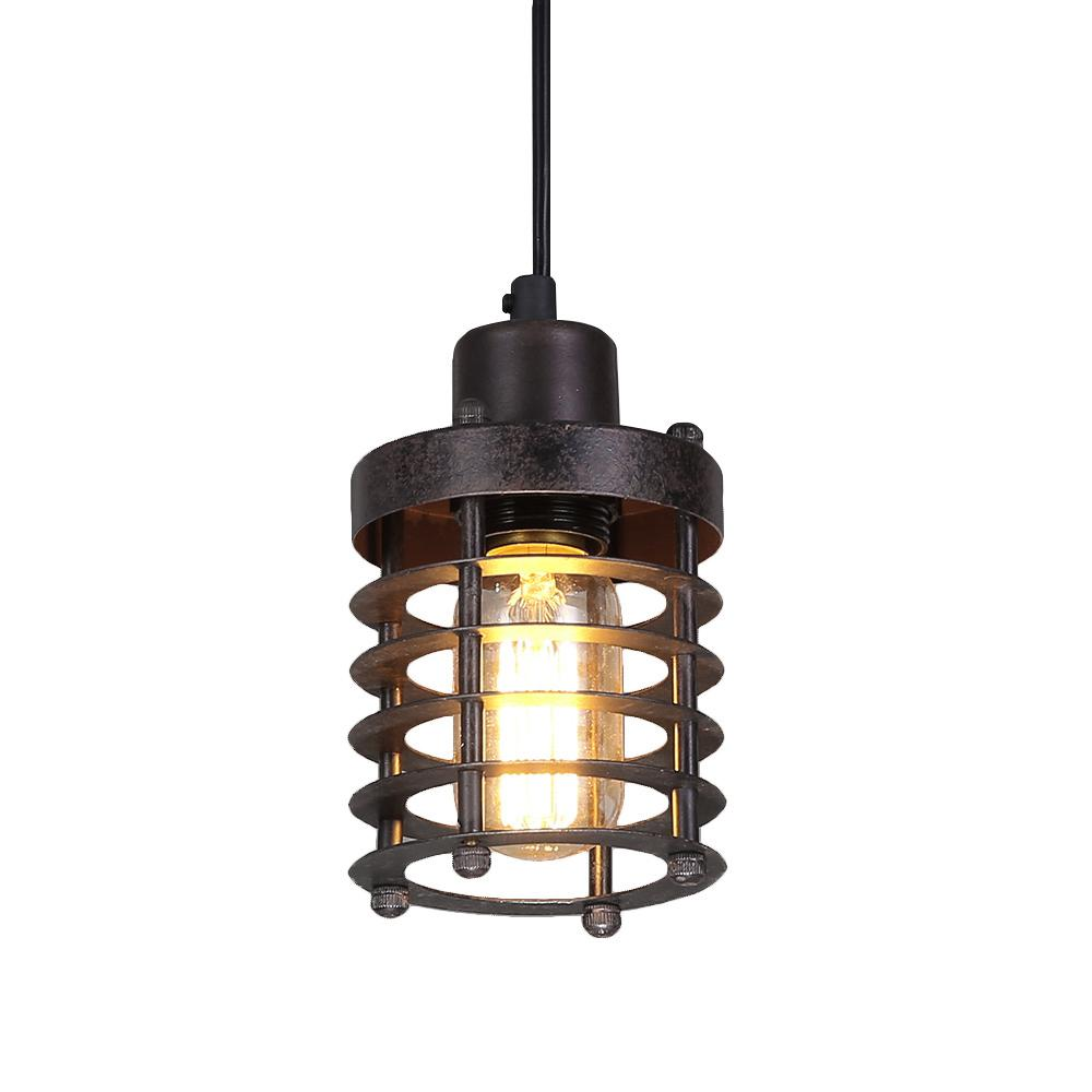 LNC 1-Light Bronze Mini Cage Rust Industrial Pendant Light-A02534 ...
