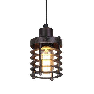 1-Light Bronze Mini Cage Rust Industrial Pendant Light