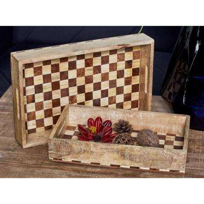Brown/Tans Decorative Trays with a Checkered Pattern (Set of 3)