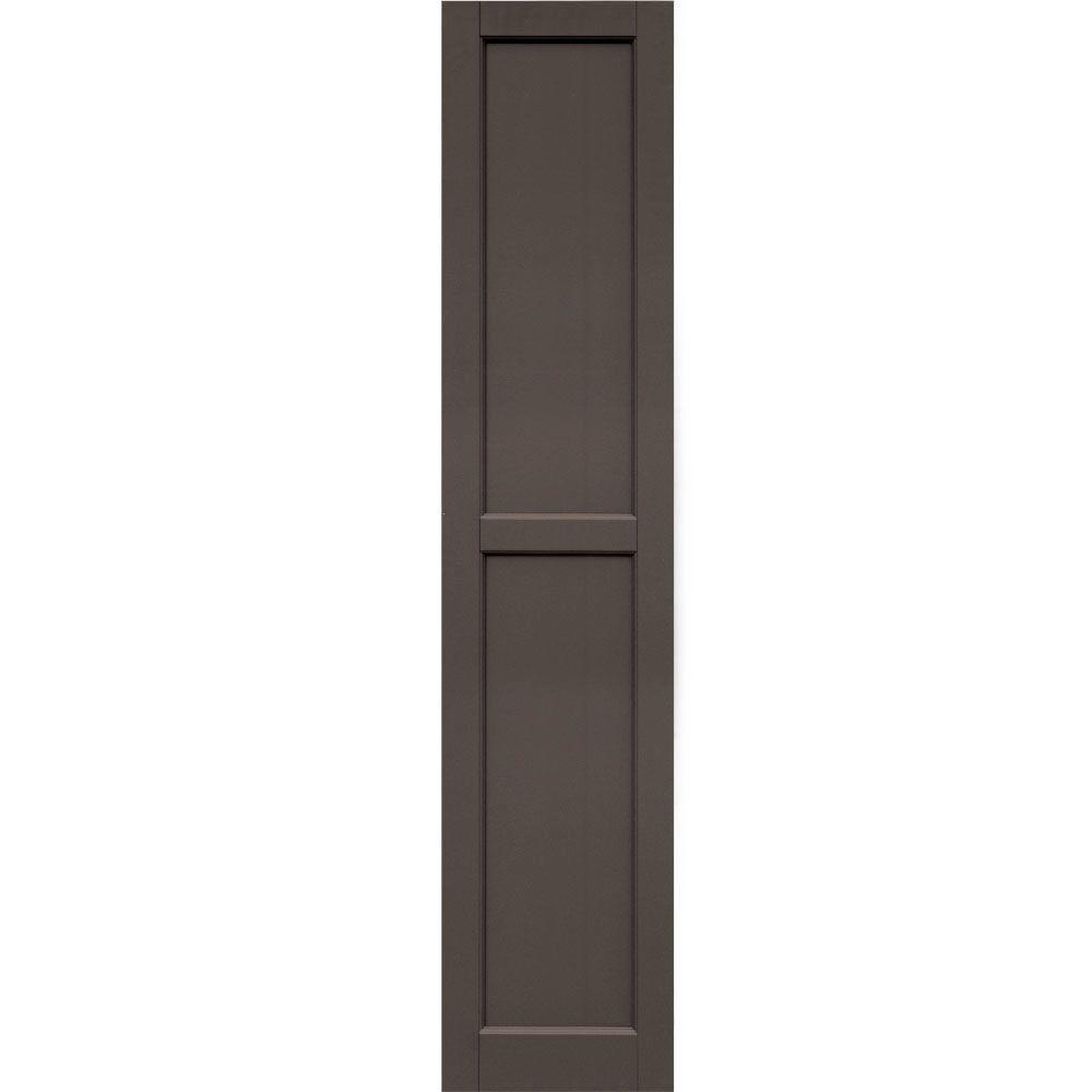 Winworks Wood Composite 15 in. x 71 in. Contemporary Flat Panel Shutters Pair #641 Walnut