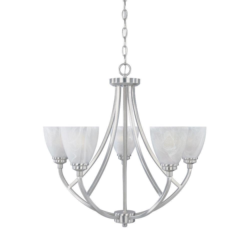 Manhattan 5-Light Satin Platinum Hanging Chandelier