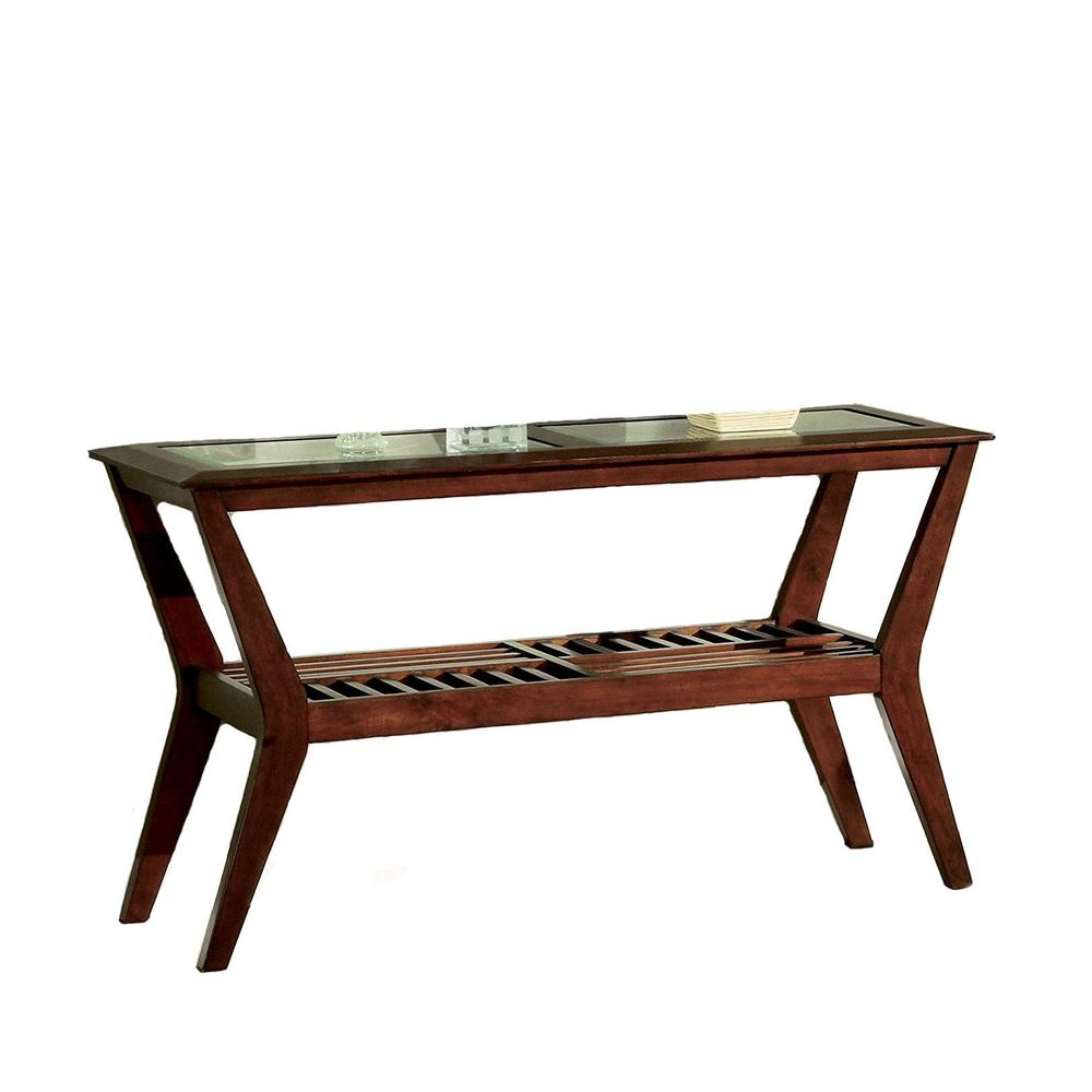 Bernie Dark Cherry Glass Sofa Table