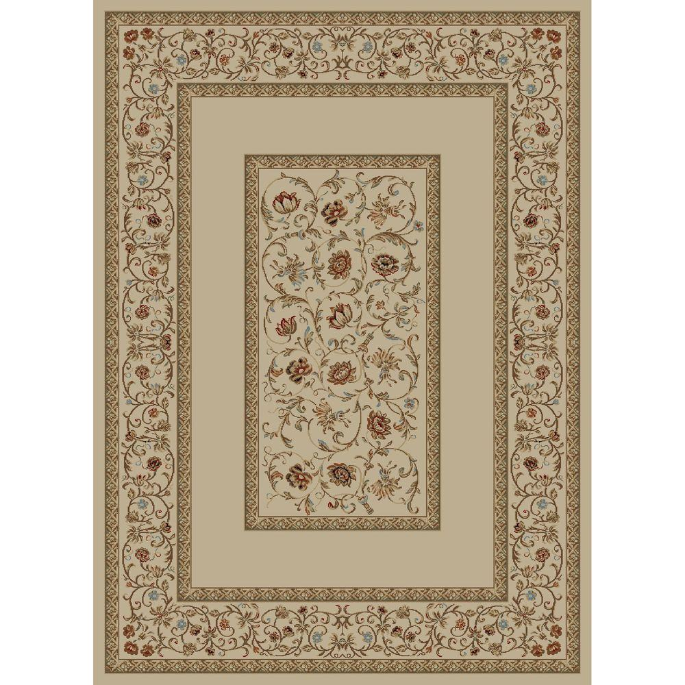 Ankara Floral Border Ivory 7 ft. 10 in. x 10 ft.