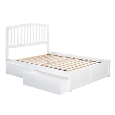 Richmond White Full Platform Bed with Flat Panel Foot Board and 2-Urban Bed Drawers