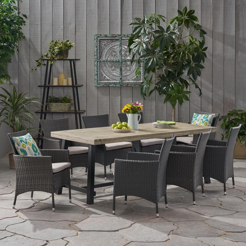 Flamingo 30 in. Grey 9-Piece Metal Rectangular Outdoor Dining Set with Light Grey Cushions