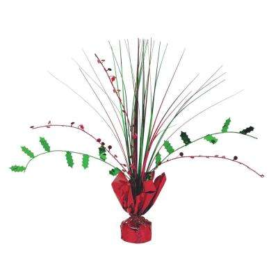 12 in. Holly Foil Spray Centerpiece (7-Pack)