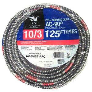 AFC Cable Systems 10/3 x 125 ft. BX/AC-90 Armored Electrical Cable by AFC Cable Systems