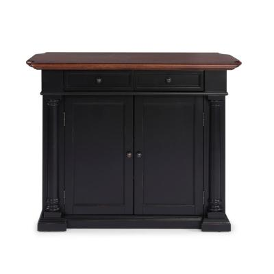 Beacon Hill Black Solid Wood Top Kitchen Island