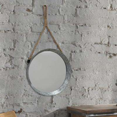 12 in. x 12 in. Galvanized Metal Trimmed Wall Mirror with Rope Hanger