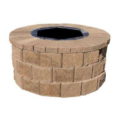 40 in. W x 20 in. H Rockwall Round Fire Pit Kit - Pecan