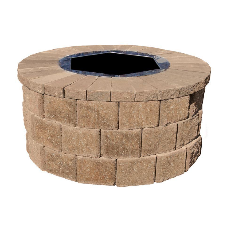 40 in. W x 20 in. H Rockwall Round Fire Pit Kit - Pecan