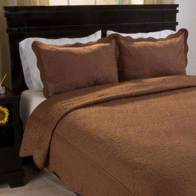 Vera Embroidered Chocolate Polyester King Quilt