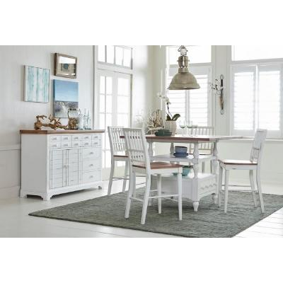 Shutters Light Oak/Distressed White Counter Table