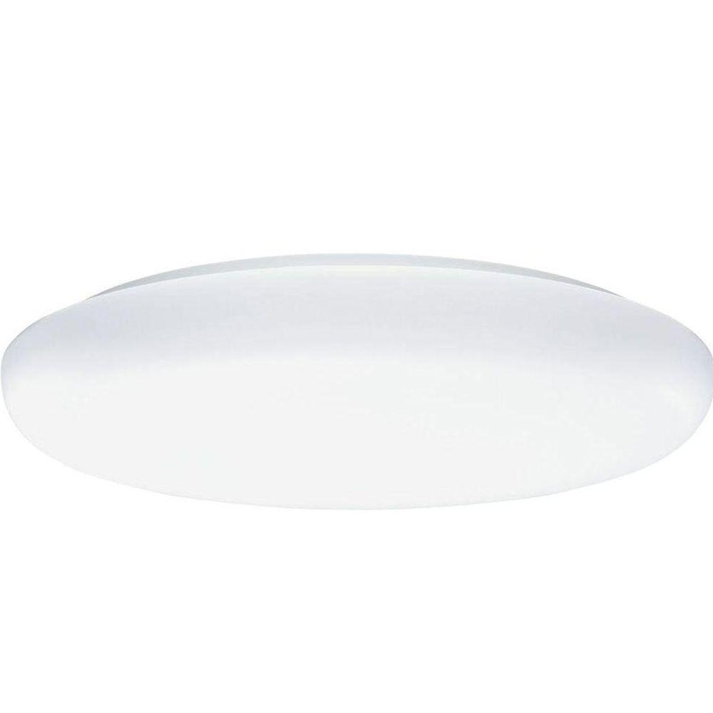 19 in. 3-Light White Low-Profile Round Light Fixture