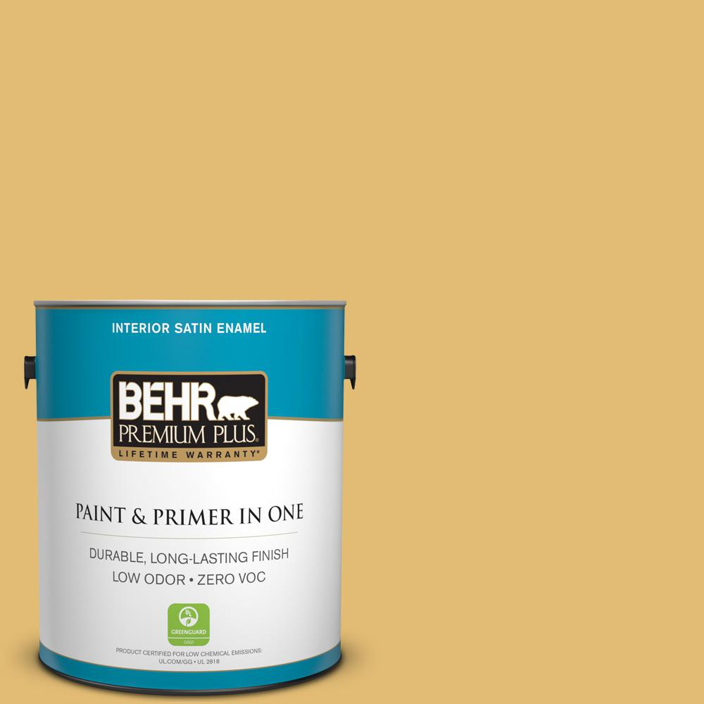 BEHR Premium Plus 1 gal. #PMD-96 Wild Wheat Satin Enamel Zero VOC Interior Paint and Primer in One