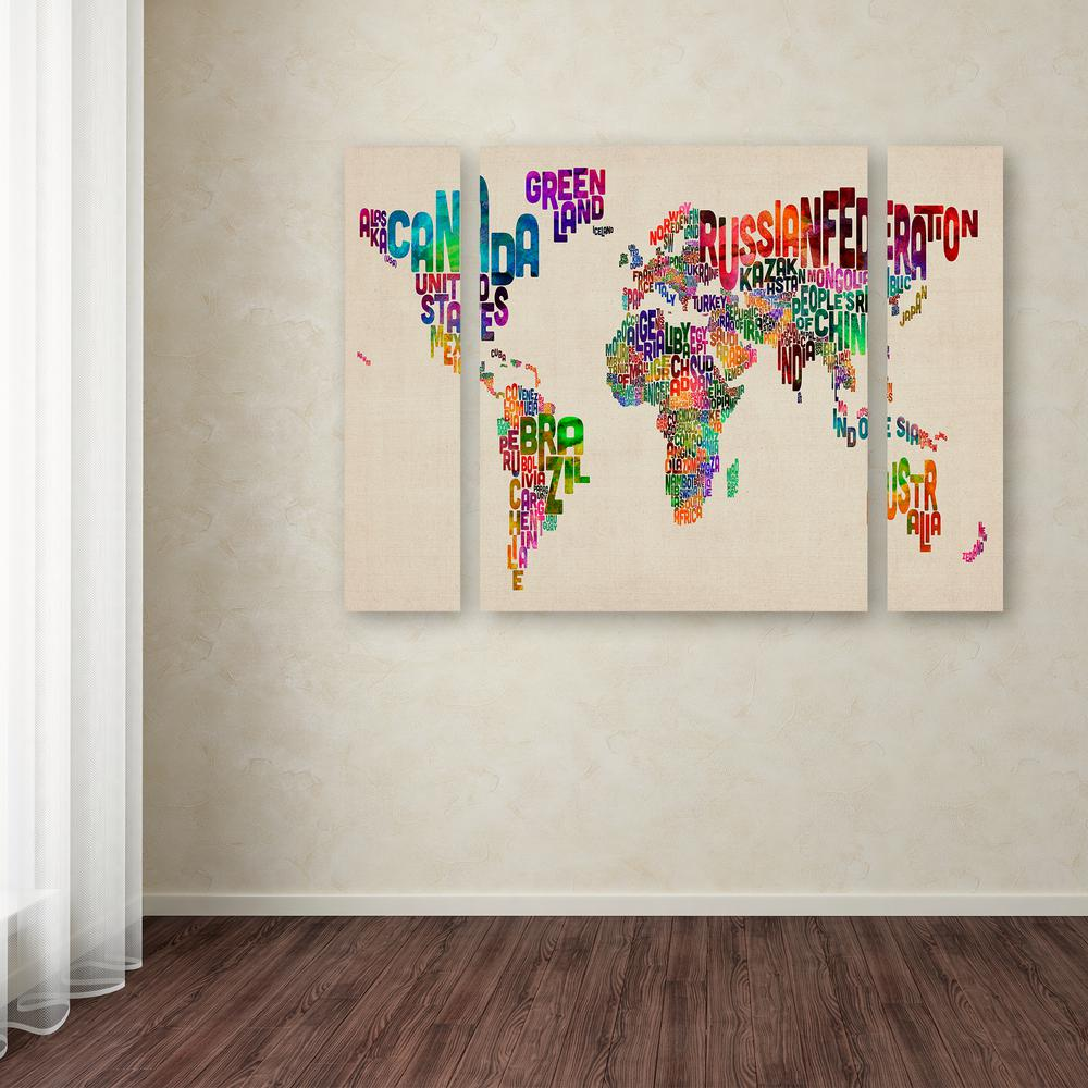 Trademark Fine Art 24 In X 32 In Typography World Map Ii By
