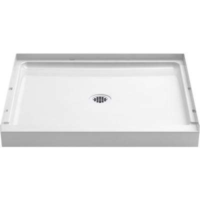 36 in. x 34 in. Single-Threshold Shower Base with Center Drain in White