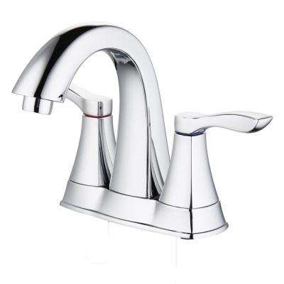 Moonstone 4 in. Centerset 2-Handle Bathroom Faucet with Pop-Up Drain in Chrome