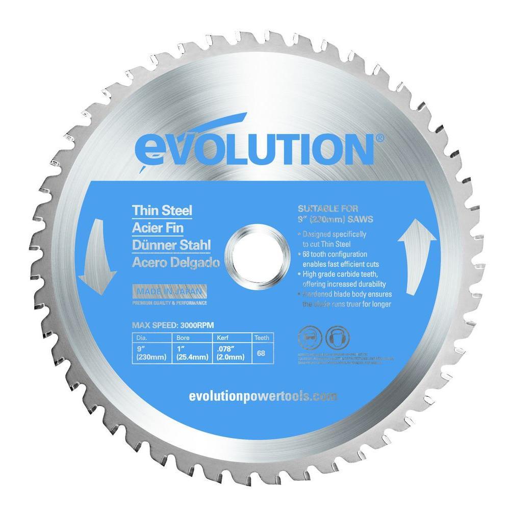 9 in. 68-Teeth Thin Steel Cutting Saw Blade