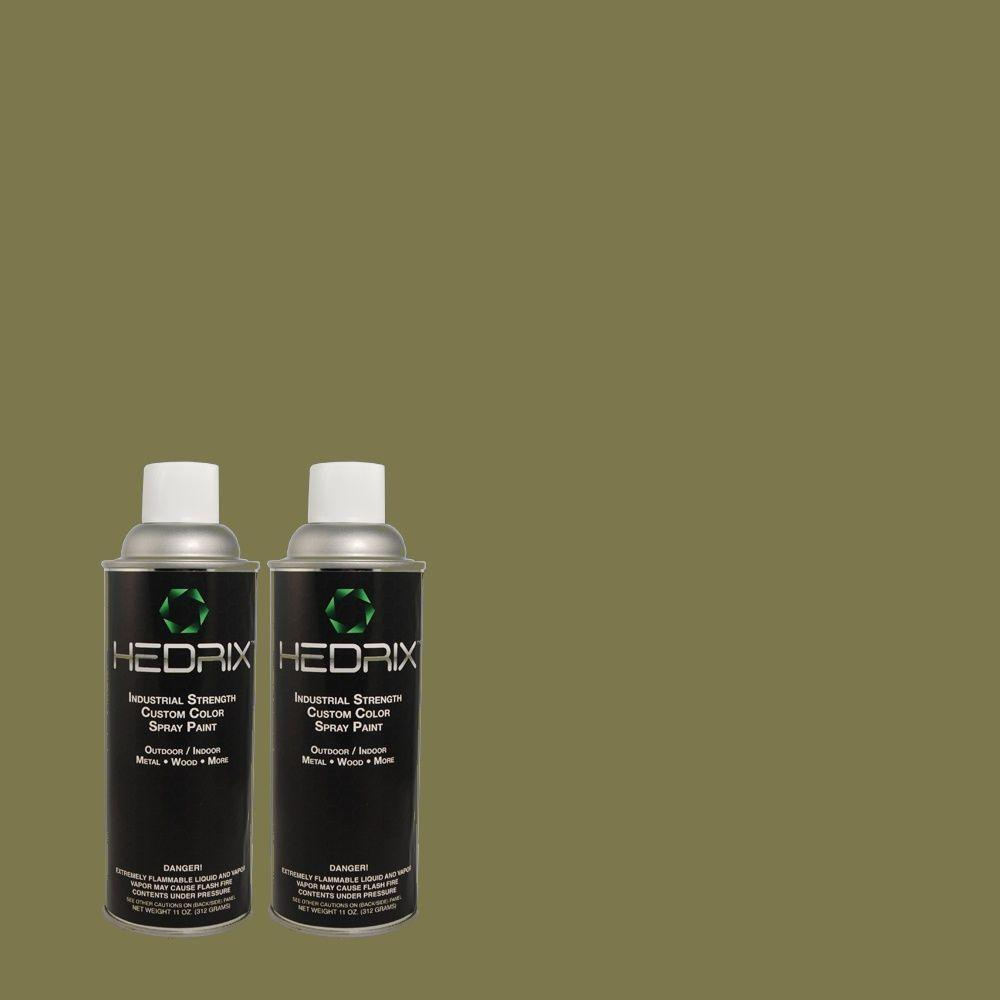 Hedrix 11 oz. Match of PPH-61 Spicy Olive Flat Custom Spray Paint (2-Pack)