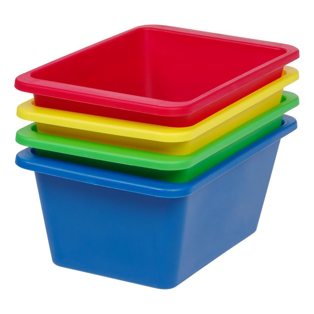 Small Multi-Purpose Plastic Bins in Primary (4-Pack)