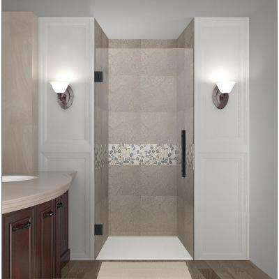 Cascadia 29.75 - 30.25 in. x 72 in. Frameless Hinged Shower Door in Matte Black