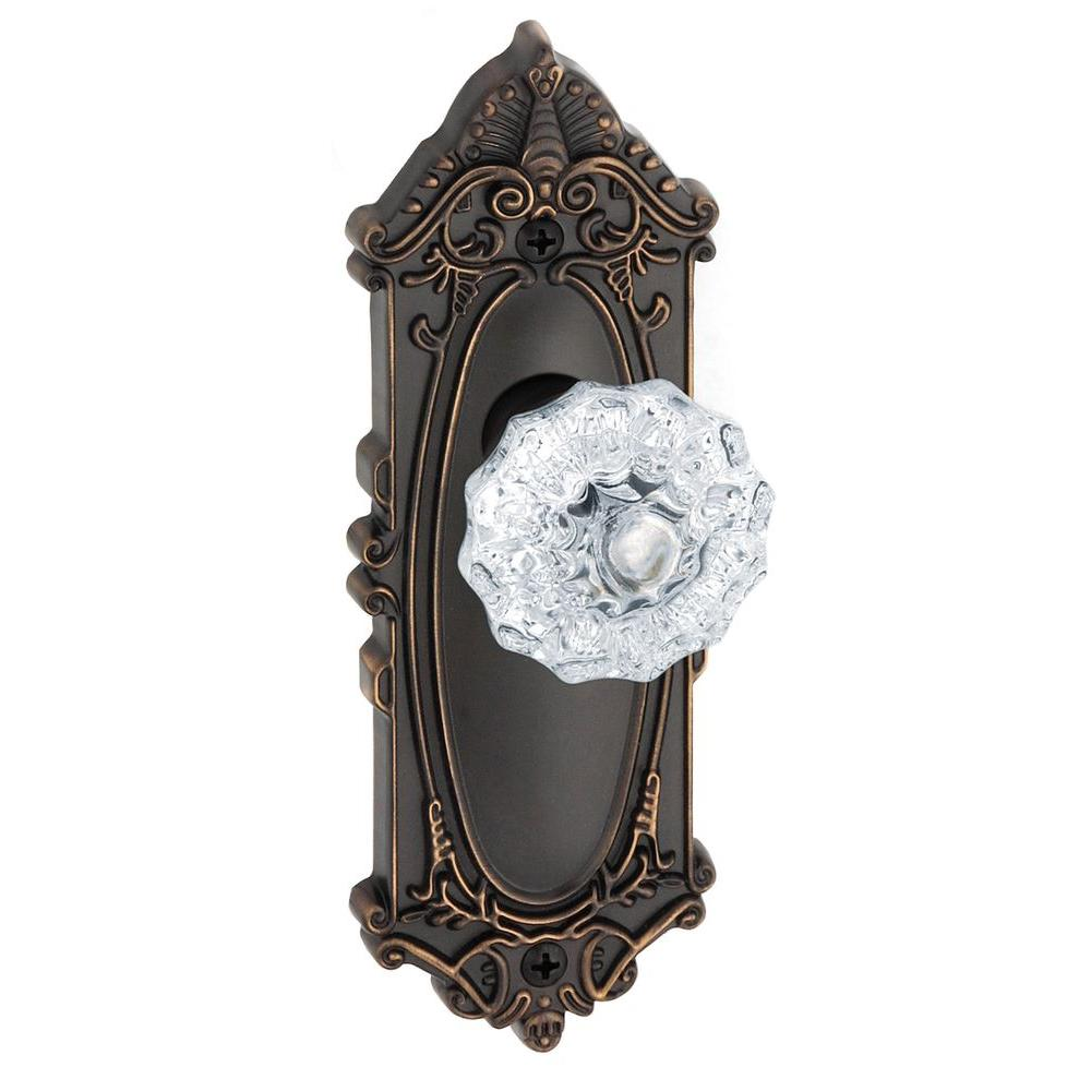 Grandeur Grande Victorian Timeless Bronze Plate with Dummy Fontainebleau Crystal Knob
